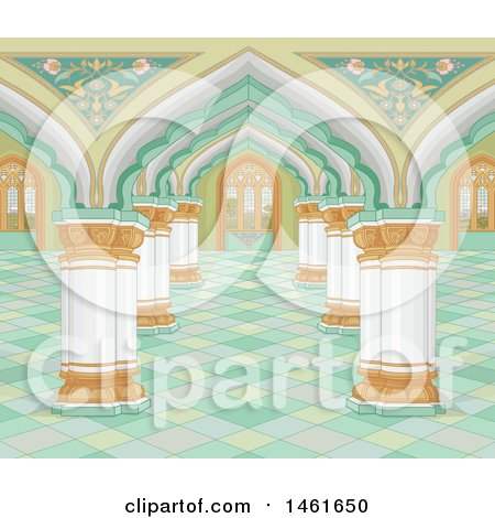 Clipart of a Palace Interior Background - Royalty Free Vector Illustration by Pushkin