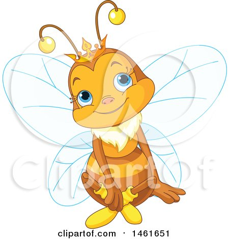 Clipart of a Cute Queen Bee Sitting - Royalty Free Vector Illustration by Pushkin