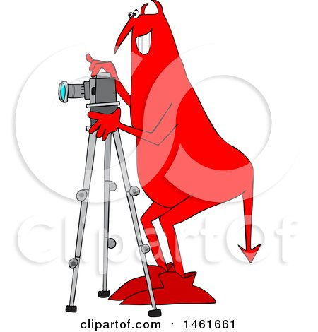 Clipart of a Chubby Red Devil Photographer Using a Camera on a Tripod - Royalty Free Vector Illustration by djart