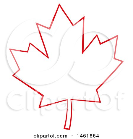 Clipart of a Red Outlined Canadian Maple Leaf - Royalty Free Vector Illustration by Hit Toon