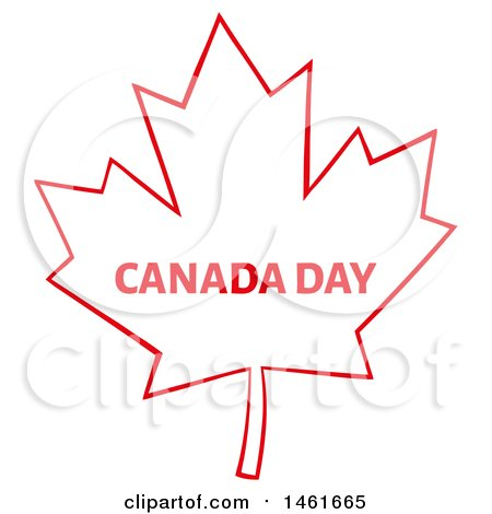 Clipart of a Red Maple Leaf with Canada Day Text - Royalty Free Vector Illustration by Hit Toon