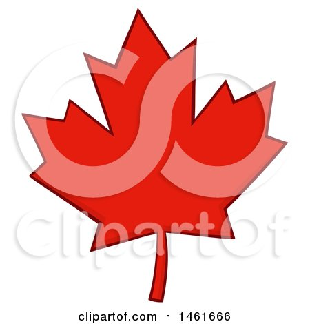 Clipart of a Red Canadian Maple Leaf - Royalty Free Vector Illustration by Hit Toon