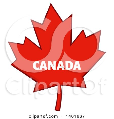 Clipart of a Red Canadian Maple Leaf with Canada Text - Royalty Free Vector Illustration by Hit Toon
