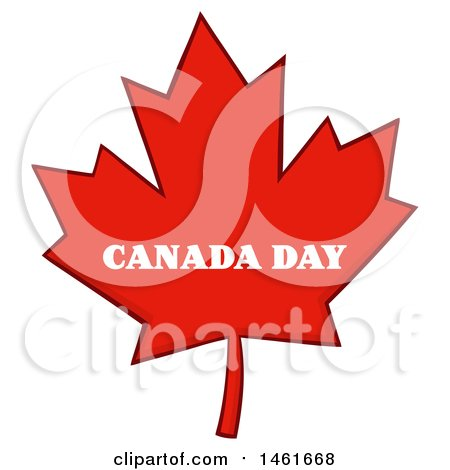 Clipart of a Red Canadian Maple Leaf with Canada Day Text - Royalty Free Vector Illustration by Hit Toon