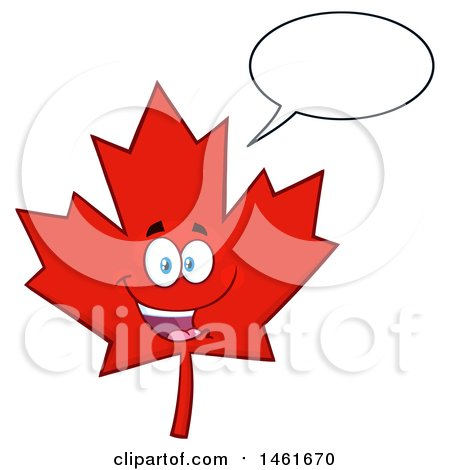 Clipart of a Talking Red Canadian Maple Leaf Mascot Character - Royalty Free Vector Illustration by Hit Toon