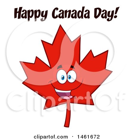 Clipart of a Red Maple Leaf Mascot Character with Happy Canada Day Text - Royalty Free Vector Illustration by Hit Toon