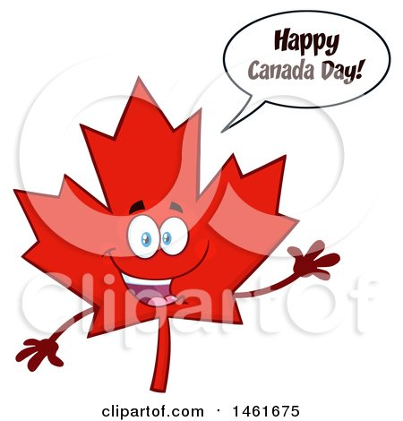 Clipart of a Talking and Waving Red Maple Leaf Mascot Character Saying Happy Canada Day - Royalty Free Vector Illustration by Hit Toon