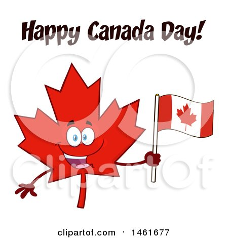 Clipart of a Red Maple Leaf Mascot Character Holding a Flag Under Happy Canada Day Flag - Royalty Free Vector Illustration by Hit Toon