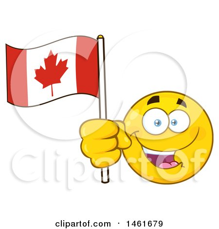 Clipart of a Happy Emoji Emoticon Holding a Canadian Flag - Royalty Free Vector Illustration by Hit Toon