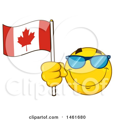 Clipart of a Happy Emoji Emoticon Wearing Sunglasses and Holding a Canadian Flag - Royalty Free Vector Illustration by Hit Toon