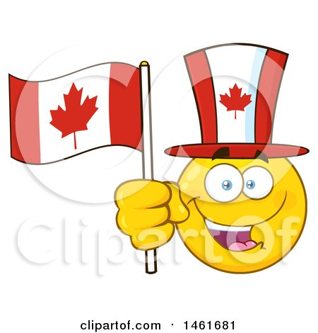 Clipart of a Happy Emoji Emoticon Holding a Canadian Flag and Wearing a Top Hat - Royalty Free Vector Illustration by Hit Toon