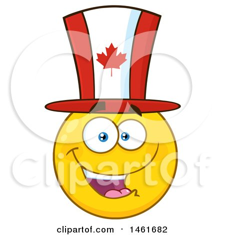 Clipart of a Happy Emoji Emoticon Wearing a Canadian Flag Top Hat - Royalty Free Vector Illustration by Hit Toon