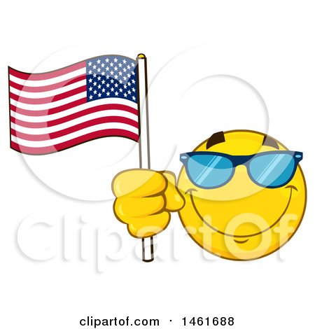 Clipart of a Emoji Smiley Face Waving an American Flag - Royalty Free Vector Illustration by Hit Toon