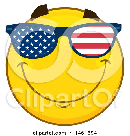 Clipart of a Emoji Smiley Face Wearing American Flag Sunglasses - Royalty Free Vector Illustration by Hit Toon