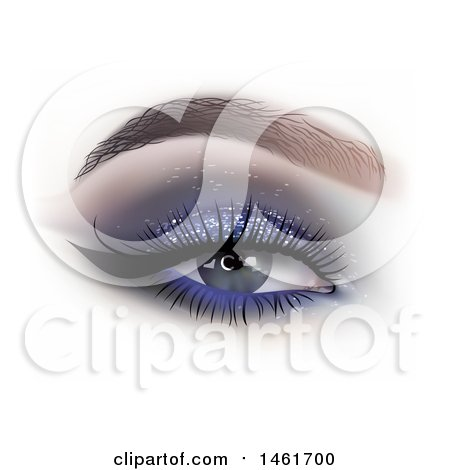Clipart of a Womans Eye with Glittery Shadow - Royalty Free Vector Illustration by dero