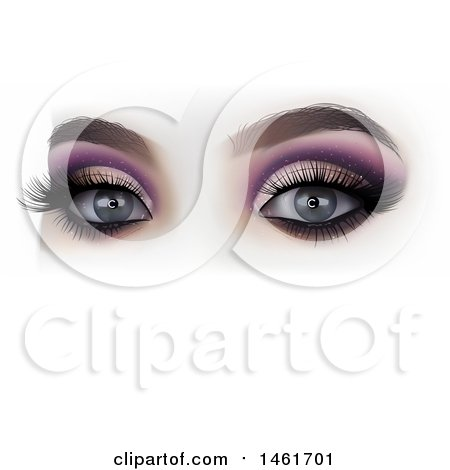 Clipart of a Womans Eyes with Makeup - Royalty Free Vector Illustration by dero