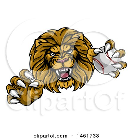 Tough Male Lion Head Mascot Holding a Baseball Posters, Art Prints