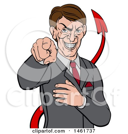 Clipart of a Cartoon Corrupt White Devil Businessman Pointing Outwards, from the Waist up - Royalty Free Vector Illustration by AtStockIllustration