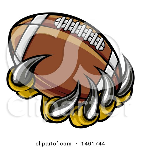 Clipart of Monster or Eagle Claws Holding a Football - Royalty Free Vector Illustration by AtStockIllustration