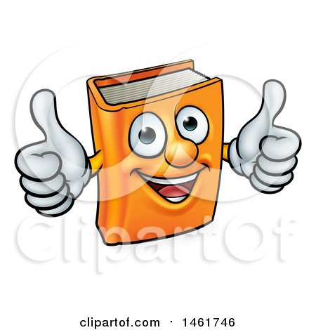 Clipart of a Happy Orange Book Character Mascot Giving Two Thumbs up - Royalty Free Vector Illustration by AtStockIllustration