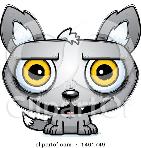 Clipart of a Cartoon Grinning Evil Wolf - Royalty Free Vector Illustration by Cory Thoman