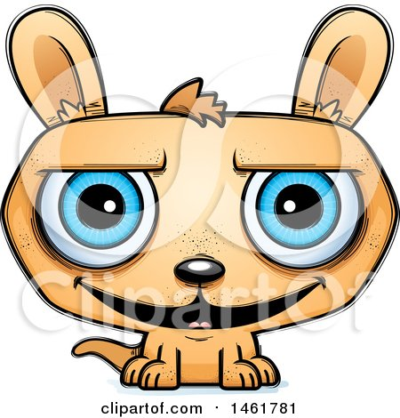 Clipart of a Cartoon Grinning Evil Kangaroo - Royalty Free Vector Illustration by Cory Thoman