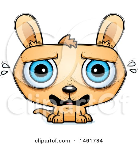 Clipart of a Cartoon Scared Evil Kangaroo - Royalty Free Vector Illustration by Cory Thoman