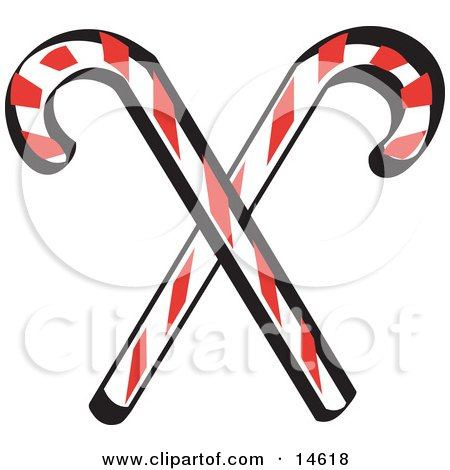 Two Red And White Candy Canes Retro Clipart Illustration