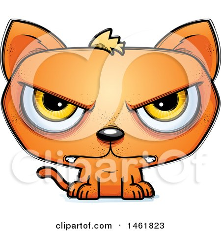 Clipart of a Cartoon Mad Evil Orange Cat - Royalty Free Vector Illustration by Cory Thoman