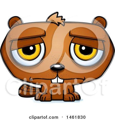 Clipart of a Cartoon Sad Evil Beaver - Royalty Free Vector Illustration by Cory Thoman