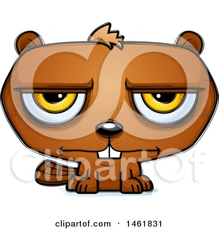 Clipart of a Cartoon Bored Evil Beaver - Royalty Free Vector Illustration by Cory Thoman