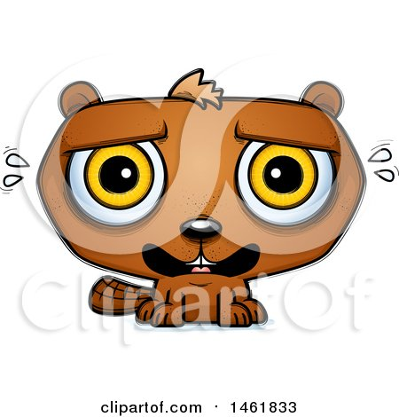 Clipart of a Cartoon Scared Evil Beaver - Royalty Free Vector Illustration by Cory Thoman