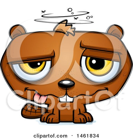 Clipart of a Cartoon Drunk Evil Beaver - Royalty Free Vector Illustration by Cory Thoman