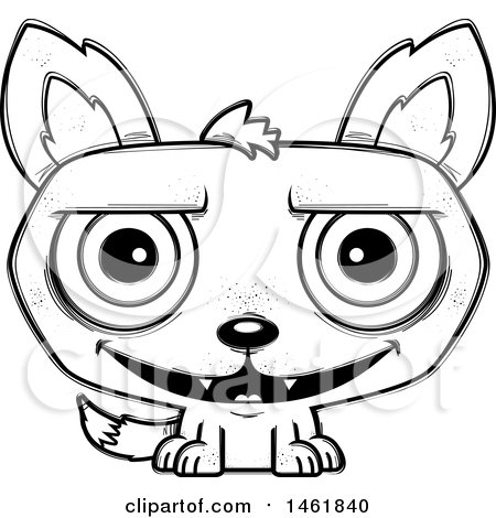 Clipart of a Cartoon Outline Grinning Evil Wolf - Royalty Free Vector Illustration by Cory Thoman