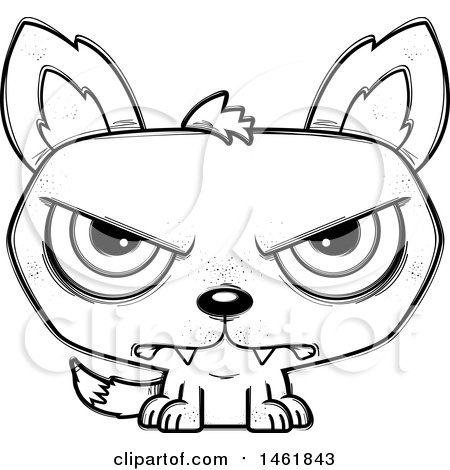 Clipart of a Cartoon Outline Mad Evil Wolf - Royalty Free Vector Illustration by Cory Thoman