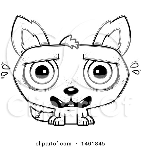 Clipart of a Cartoon Outline Scared Evil Wolf - Royalty Free Vector Illustration by Cory Thoman