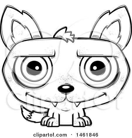 Clipart of a Cartoon Outline Happy Evil Wolf - Royalty Free Vector Illustration by Cory Thoman