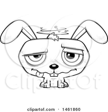 Clipart Of A Cartoon Lineart Dizzy Evil Bunny Rabbit