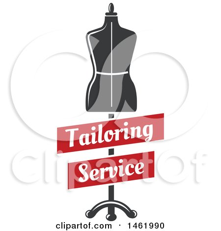 Clipart of a Mannequin with Tailoring Service Banners - Royalty Free Vector Illustration by Vector Tradition SM