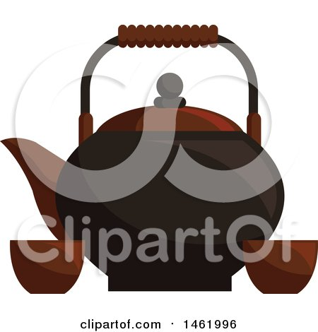 Clipart of a Tea Pot with Cups - Royalty Free Vector Illustration by Vector Tradition SM