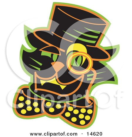 Black Cat Wearing A Hat And A Bow And A Monacle Over His Eye  Posters, Art Prints