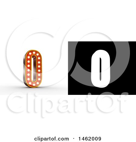 Clipart of a 3d Illuminated Theater Styled Vintage Letter O, with Alpha Map for Isolation - Royalty Free Illustration by stockillustrations