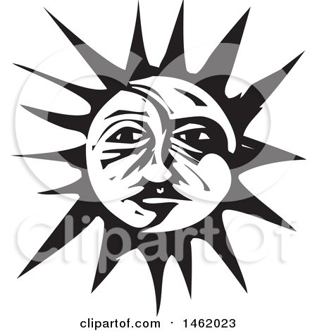 Clipart of a Sun and Moon Face, Black and White Woodcut Style - Royalty Free Vector Illustration by xunantunich