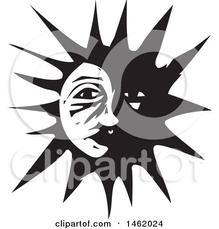 Clipart of a Sun and Moon Face, Partially in the Dark, Black and White Woodcut Style - Royalty Free Vector Illustration by xunantunich