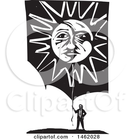 Clipart of a Man Holding a Sun and Moon Faced Balloon, Black and White Woodcut Style - Royalty Free Vector Illustration by xunantunich