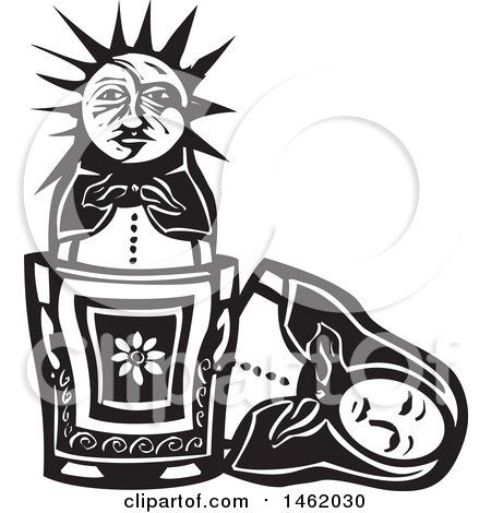 Clipart of a Sun and Moon Headed Nesting Doll, Black and White Woodcut Style - Royalty Free Vector Illustration by xunantunich