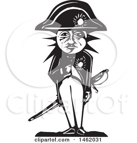 Clipart of a Sun and Moon Headed Napoleon, Black and White Woodcut Style - Royalty Free Vector Illustration by xunantunich
