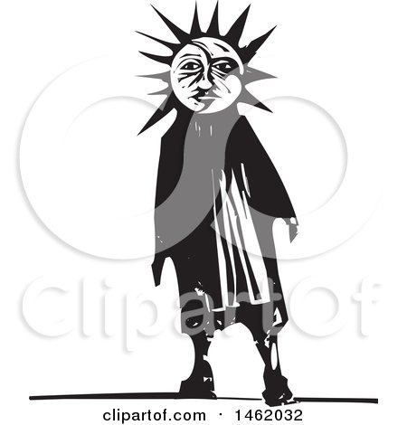Clipart of a Sun and Moon Headed Man, Black and White Woodcut Style - Royalty Free Vector Illustration by xunantunich