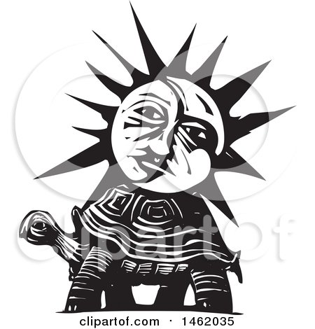 Clipart of a Sun and Moon Face on a Tortoise, Black and White Woodcut Style - Royalty Free Vector Illustration by xunantunich