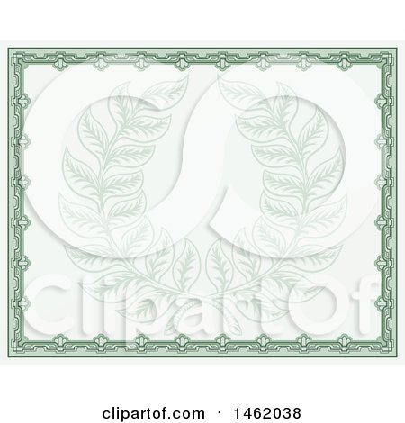 Clipart of a Vintage Green Certificate Design with a Laurel Wreath Faded in the Center - Royalty Free Vector Illustration by AtStockIllustration